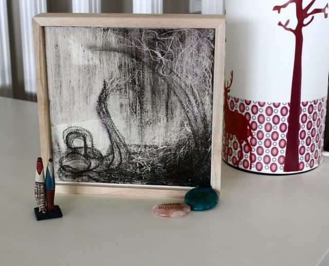 Cold wax encaustic and charcoal layered abstract artwork on high quality watercolour paper by TheFlightyFlamingo on Etsy