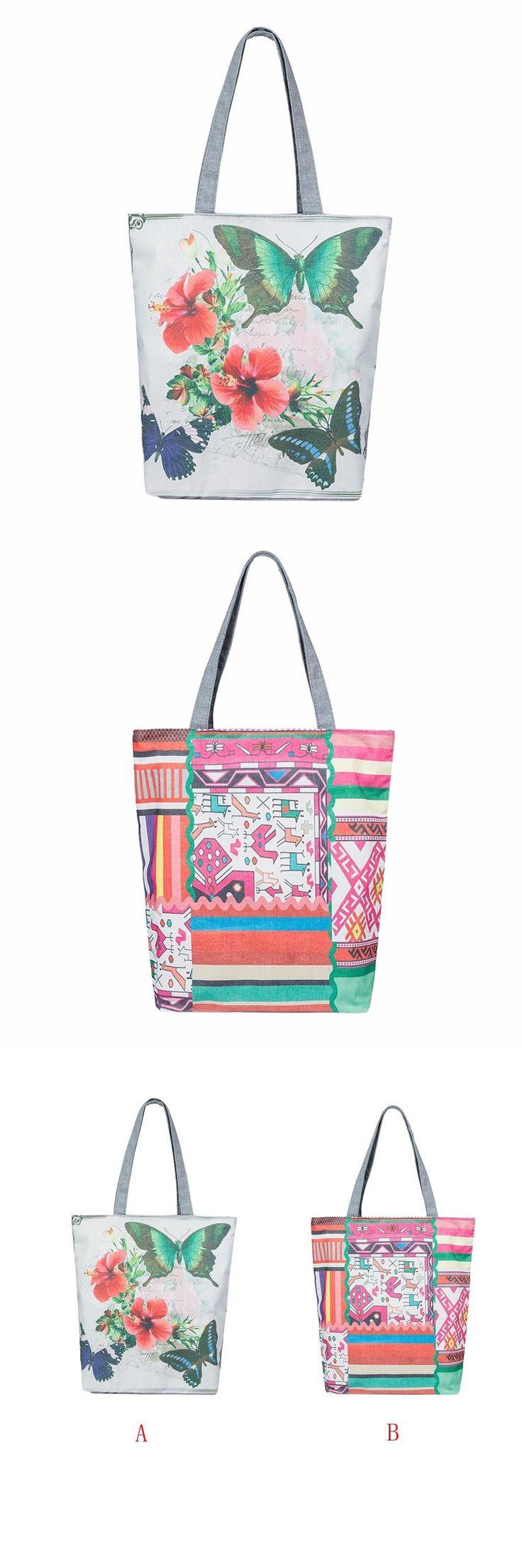 [Visit to Buy] Printing Canvas Tote Casual Beach Bags Women Shopping Bag Handbags luxury handbags women bags designer wholesale sale #75123 #Advertisement