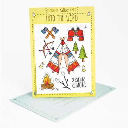 Lose yourself to adventure.  Write your message on the back of the card. The person who receives it can then cut out and stick on the temporary tattoos attached to suit the occasion.