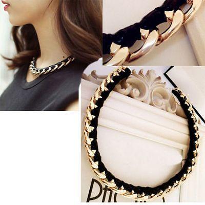 Fashion Women Statement Bib Choker Leather Chain Collar Pendant Necklace Jewelry