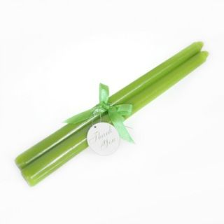 "These Apple Green 10"" Taper Candles add elegant and soft lighting that's perfect for any party or occasion. Set the perfect atmosphere at your wedding, party, or romantic candlelit dinner!Features and specs:  Includes: 2 taper candles Measurements: 10""H x 3/4""D base Weight: 0.30lbs Comes in a clear PVC package with matching ribbon and tag Package measures 2""W x 12""H"