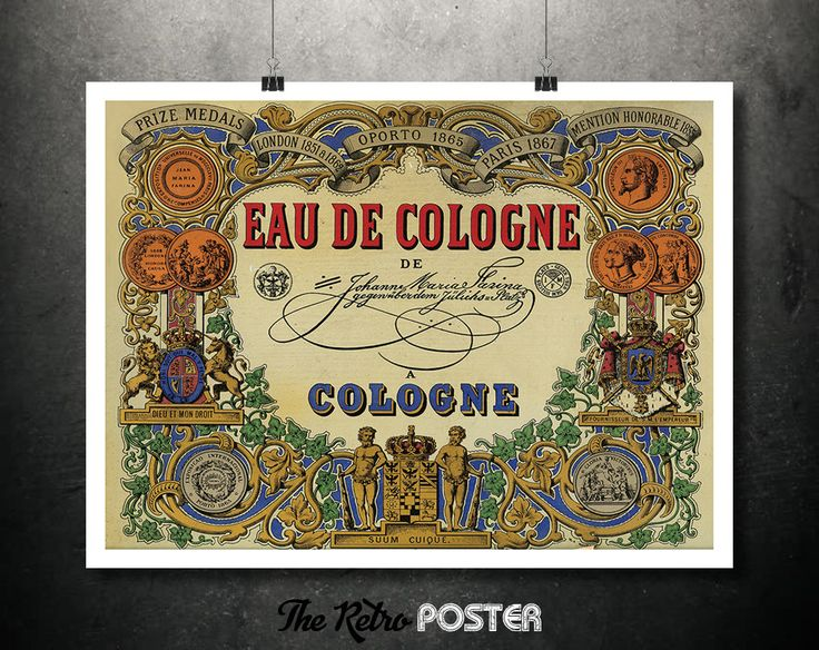 1868 Eau De Cologne - Farina - Gegenueber Firmenschild // High Quality Fine Art Reproduction Giclée Print by TheRetroPoster on Etsy