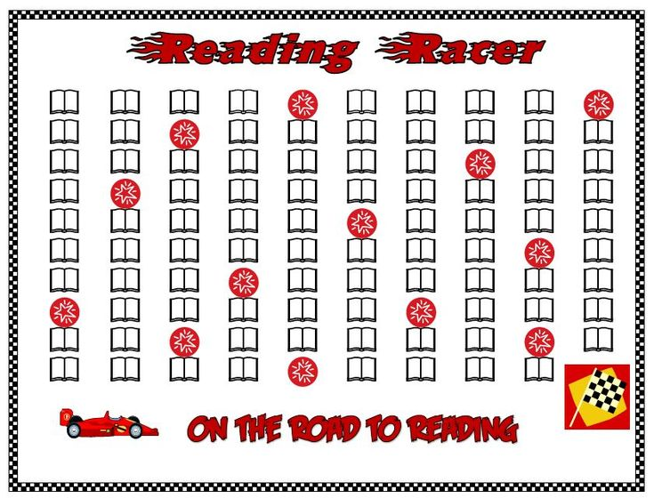 Reading Racer: Free reading progress/ reward chart with a race car theme.