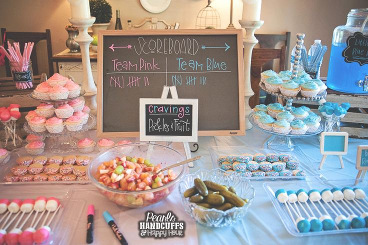 Pearls, Handcuffs, and Happy Hour: Gender Reveal Party Dessert Table