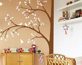 Witte boom muur Decal Wall Art Decor Wall Tattoo door StudioQuee