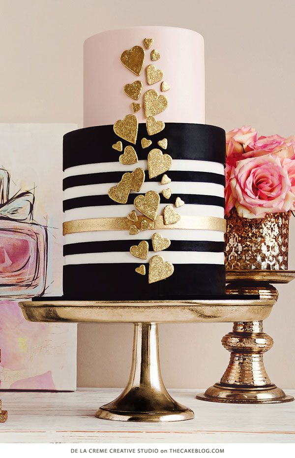 Black and Gold - 10 Love Inspired Cakes | including this design by De la Crème Creative Studio | on TheCakeBlog.com