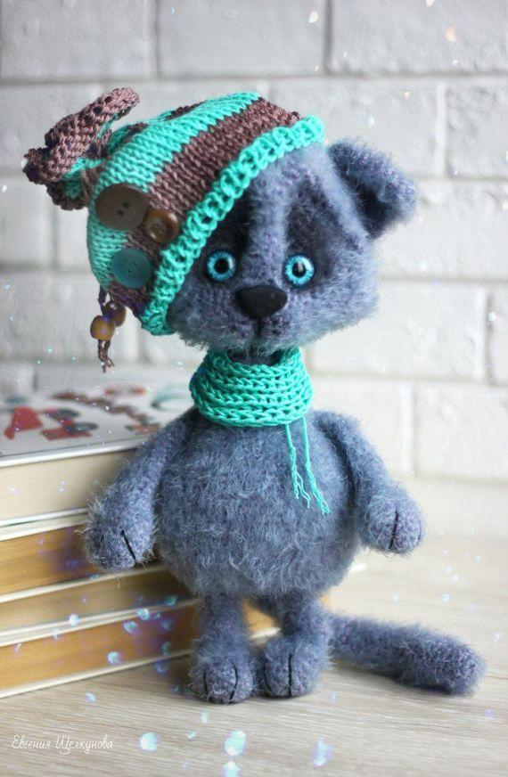 Gray Cat Crochet cat toy Cute Miniature cat Amigurumi Pet