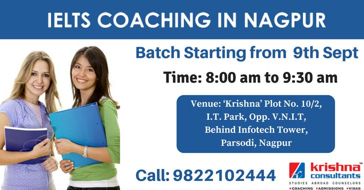 Expert Coaching for #IELTS at Krishna Consultants. Batch starting from 9th Sept 2016. Call: 9822102444