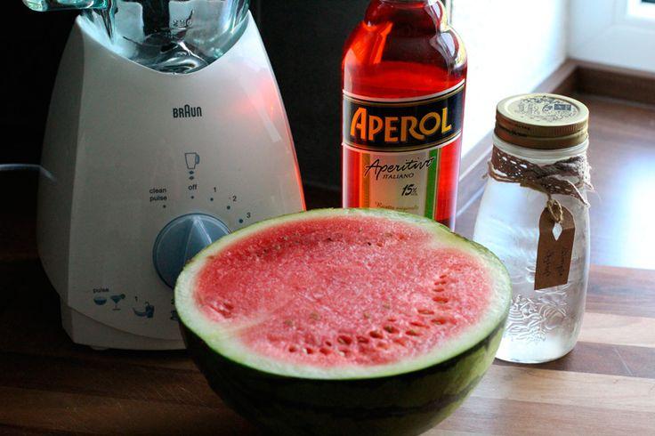 Granita mit Aperol und Wassermelone