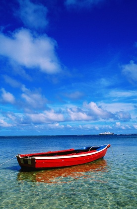 La Digue Island, Seychelles  Small boat at anchor.: Digu Islands, Buckets Lists, Anchors Photographers, Places I D, Small Boats, Small Sailboats, Travel Planner, Seychelles Islands, Photographers Prints