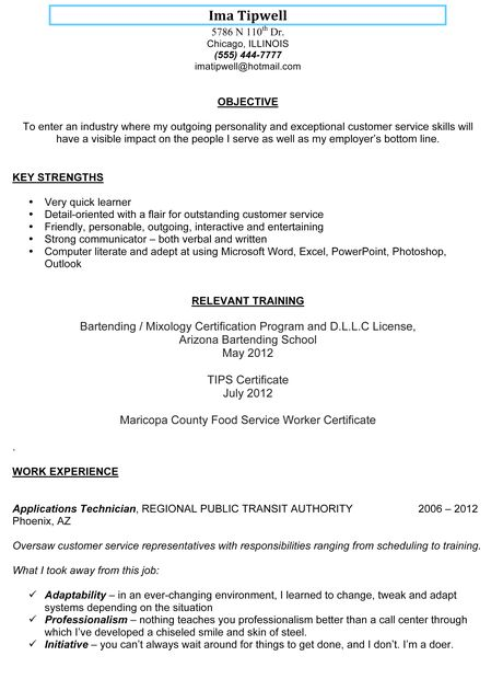 bartending resume sample-1