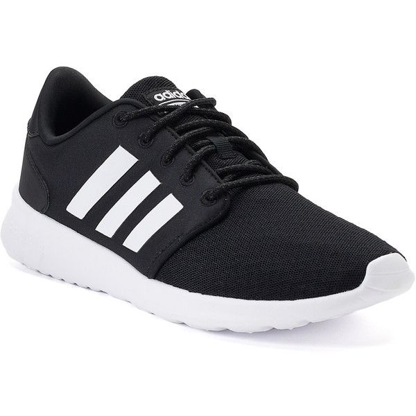 Adidas NEO Cloudfoam QT Racer Women's Shoes ($65) ❤ liked on Polyvore featuring shoes, athletic shoes, black, black lace up shoes, laced shoes, fleece-lined shoes, adidas footwear and adidas