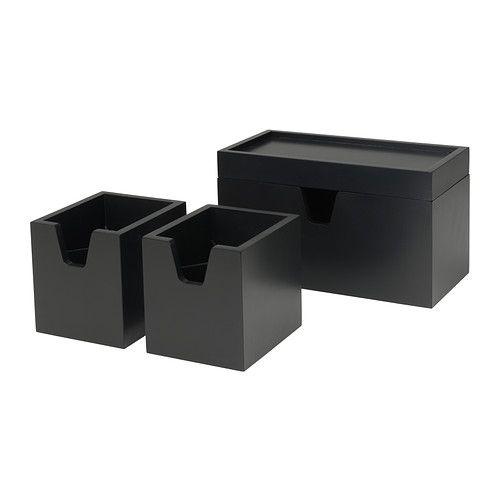 FÖRHÖJA Kistje set van 4 - zwart - IKEA