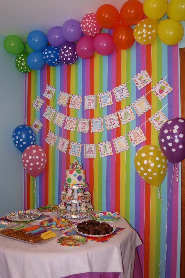 Colourful backdrop for candy party emily 39 s birthday for Backdrop decoration ideas