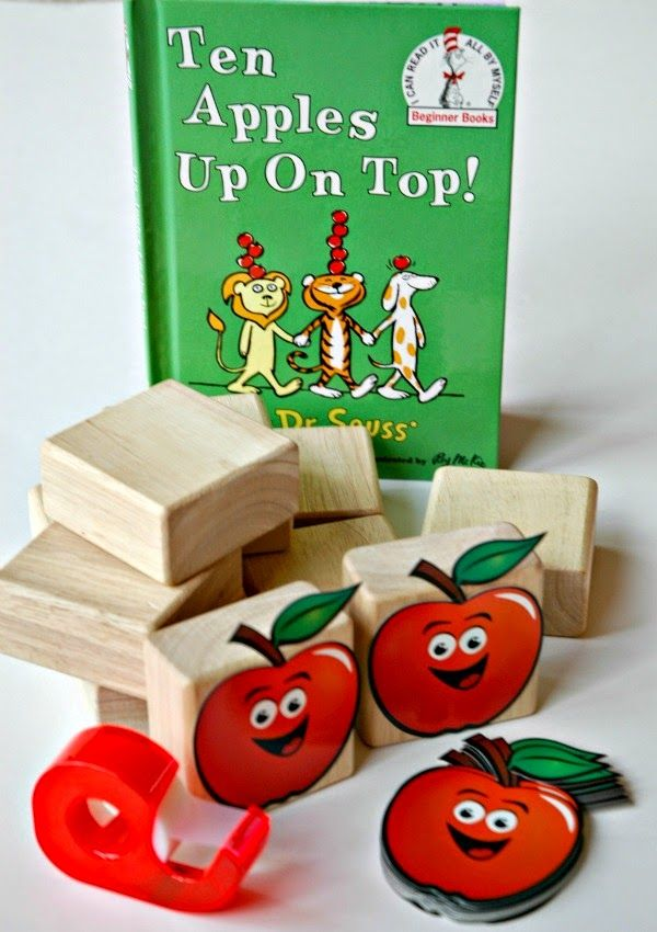Counting and stacking activity to use with the Dr. Seuss book Ten Apples Up On Top! Great math and fine motor practice!