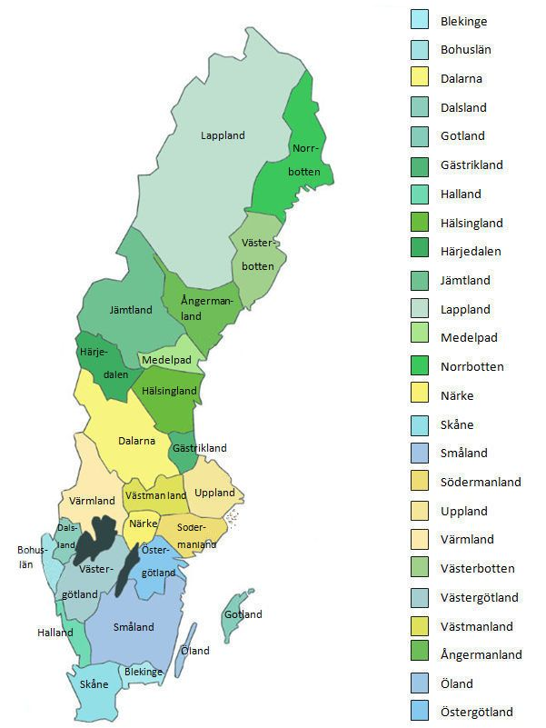 The Landskap names are not typically used to organize collections by SVAR, Arkiv Digital, Genline or the FamilySearch Catalog. These resources are organized by Swedish län (usually called county in English).