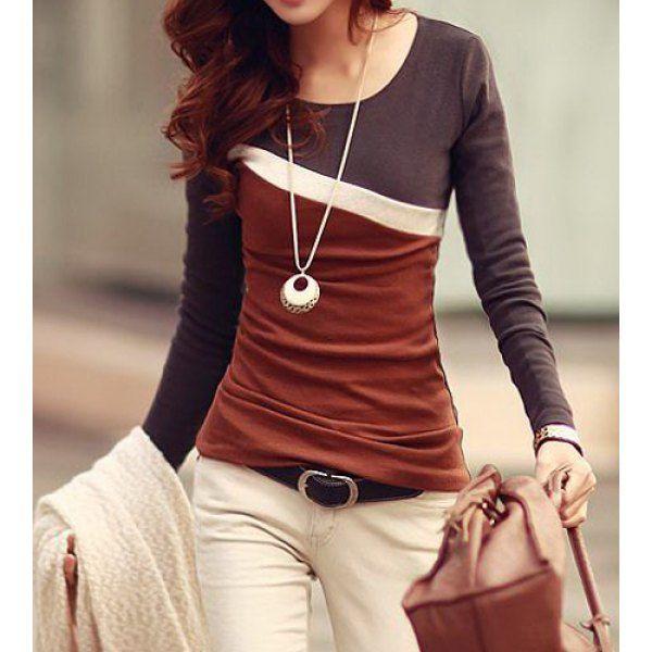 Stylish Scoop Neck Color Block Long Sleeve Women's T-Shirt