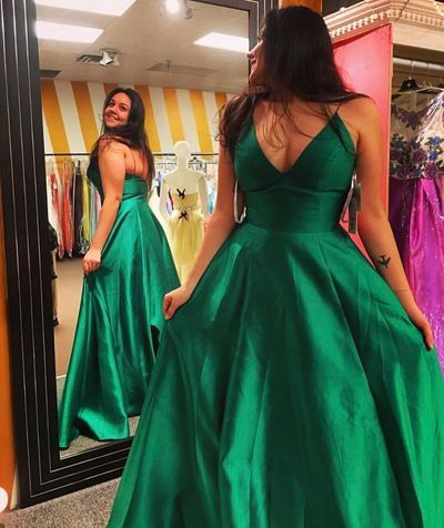 185773e2dcf Green Satin Plunge V Spaghetti Straps Floor Length A-Line Formal Dress
