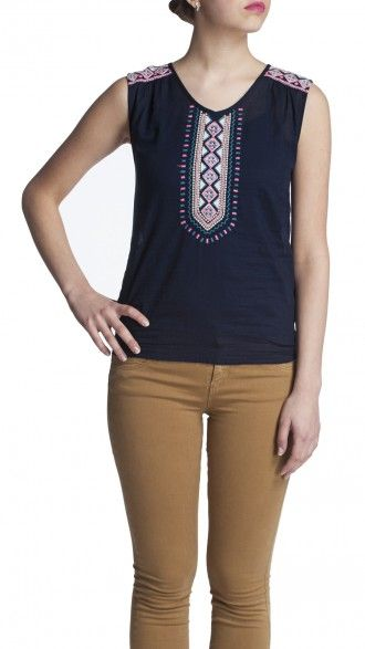 sbuys - Aztec Embroidered Smock Top #sbuys #spring #aztec #smock #embroidery Shop now at www.sbuys.in
