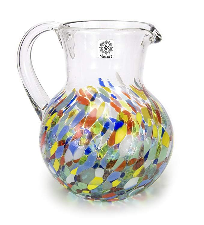 Mexart Hand Blown Confetti Carmelina Decorative Recycled Glass Pitcher 98 Oz Cobalt Light Recycled Glass Glass Pitchers Hand Blown
