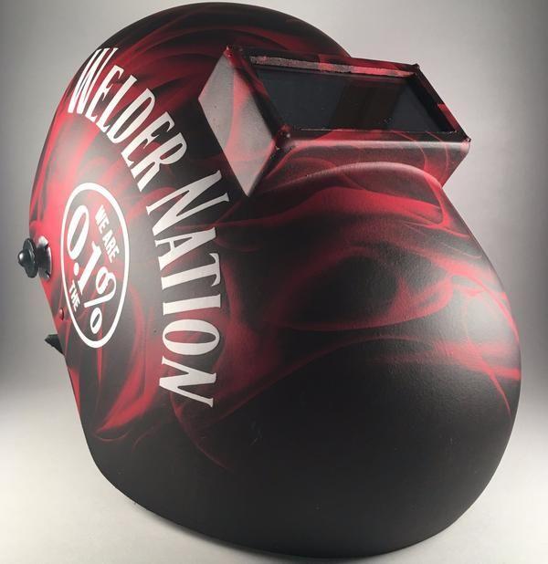 Red Backdraft Welding Helmet w/ White Logo