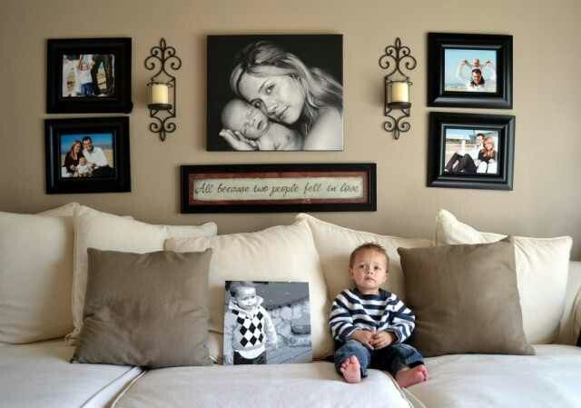 Wall collage - pictures are crooked but still cute idea