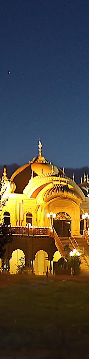 Hari Krishna Temple at night, Utah