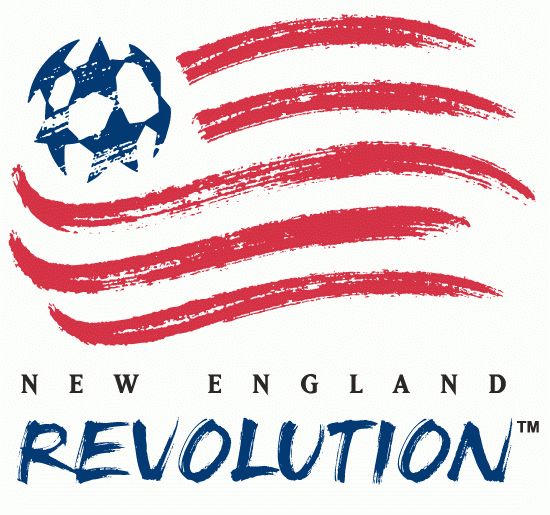 New England Revolution Primary Logo (1996) - American flag with blue soccer ball stars done with a paintbrush