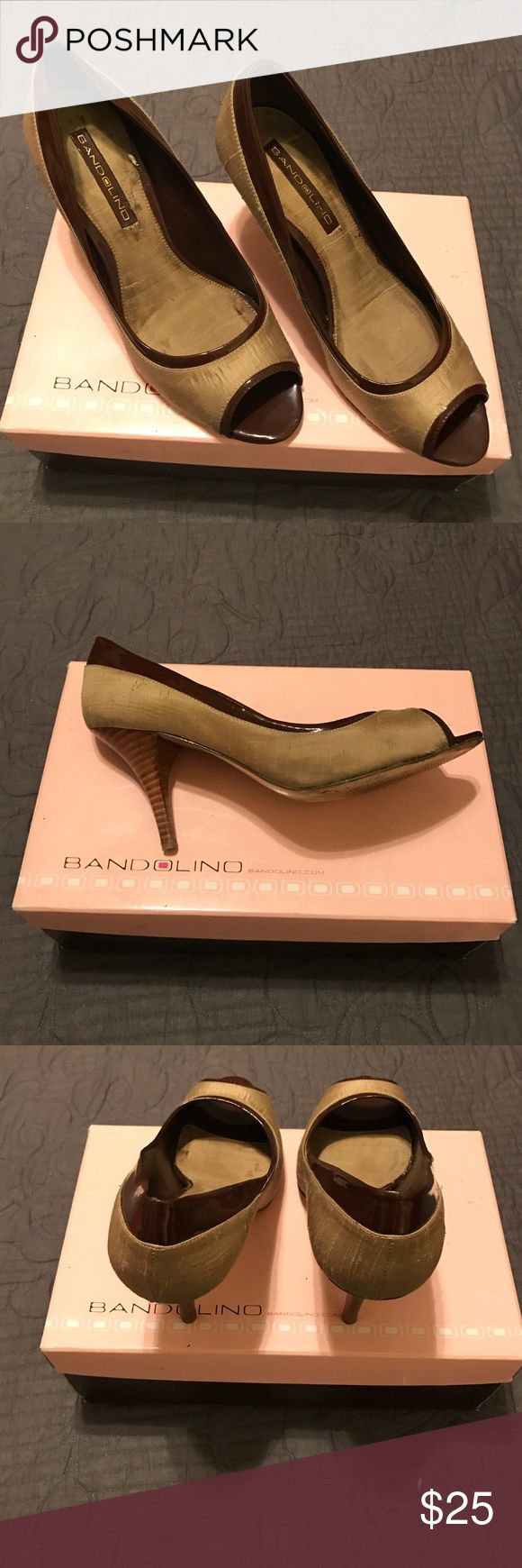 Brown and gold peep toe pumps Metallic gold and patent leather trim brown peep toe pumps by Bandolino Bandolino Shoes Heels