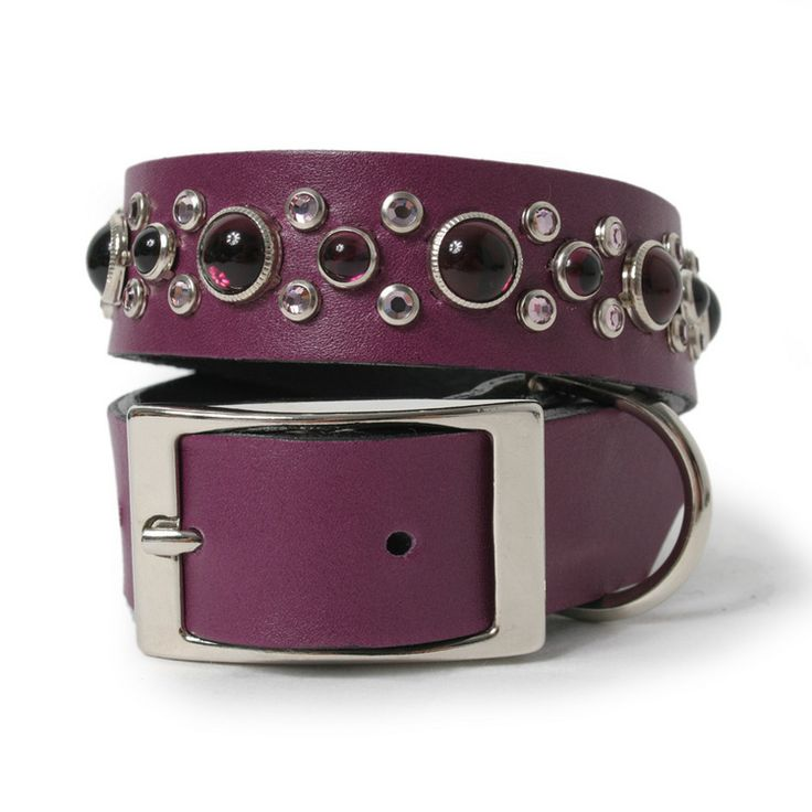 Grape Leather and Amethyst Mix Stone Dog Collar $110Grape Leather, Stones Dogs, Collars 110, Dogs Collars, Amethysts Mixed, Mixed Stones, Leather Dogs, Calf Leather, Amethysts Colors