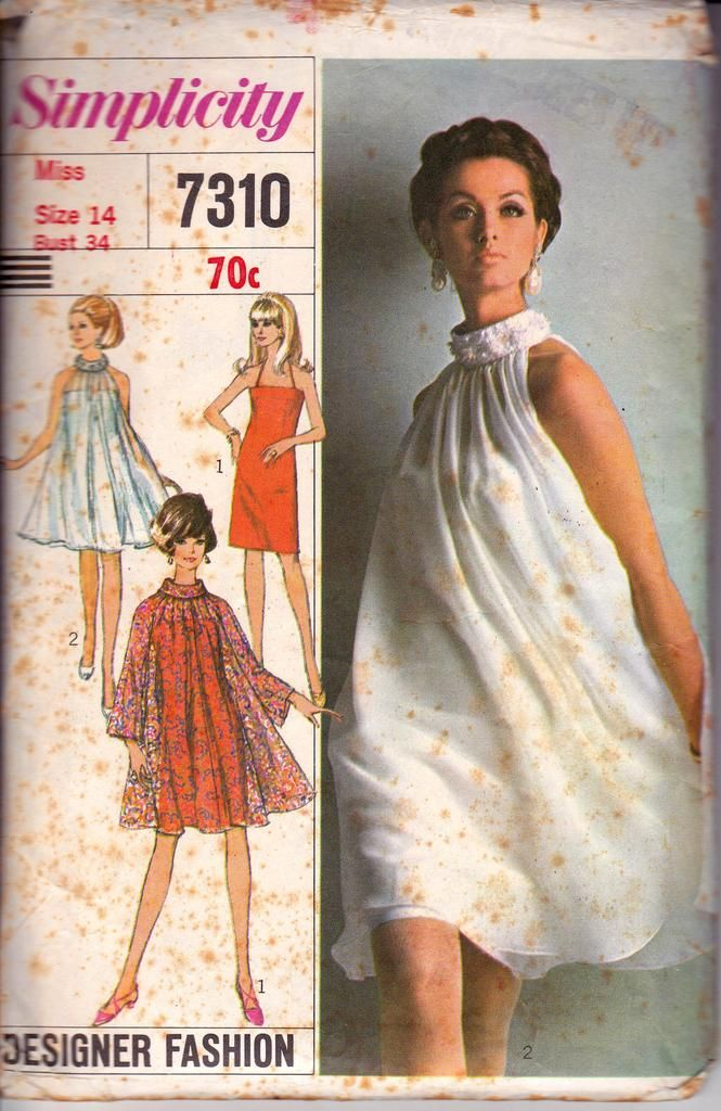 1960s Simplicity 7310 Slip Dress Tent Dress Sheer Overdress Vintage Sewing Pattern Size 14 Bust 34 inches