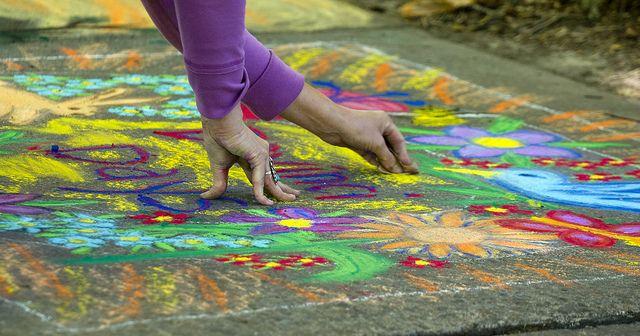 Colorful Sidewalk Chalk Art by ap., via Flickr