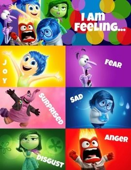 """Disney Pixar's Inside Out """"Today I am feeling"""" emotions chart.A 8.5X11 poster / page instant download printable using Disney's lovable characters from Inside Out. It is an excellent option for teachers and parents when trying to help a preschooler, Autistic child, or special needs individual identify feelings and emotions."""