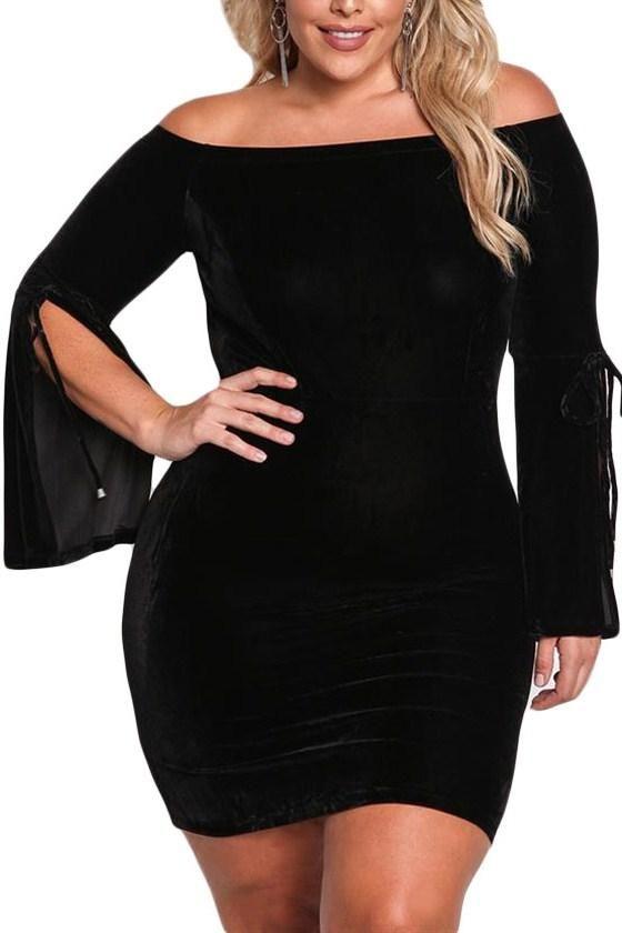 Robe moulante velours noir
