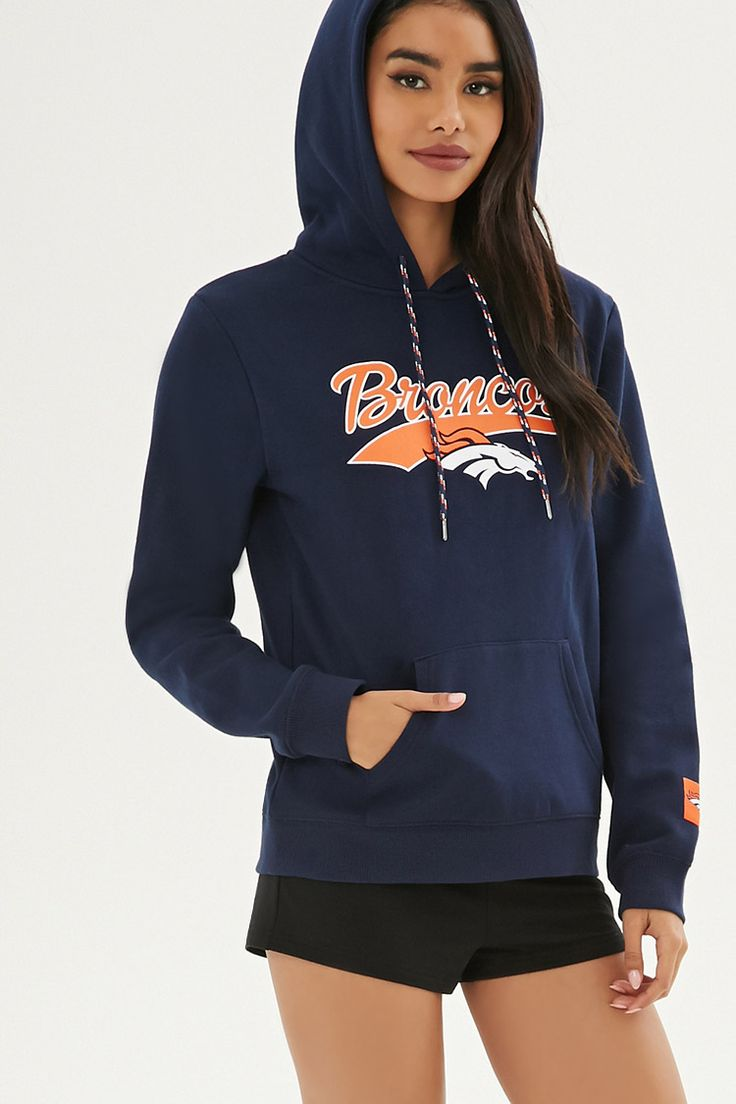 """From our NFL collection, this fleece knit hoodie is complete with a """"Denver Broncos"""" logo graphic, a team logo print on the hood, kangaroo pocket, long sleeves with a logo patch, and marled drawstrings."""