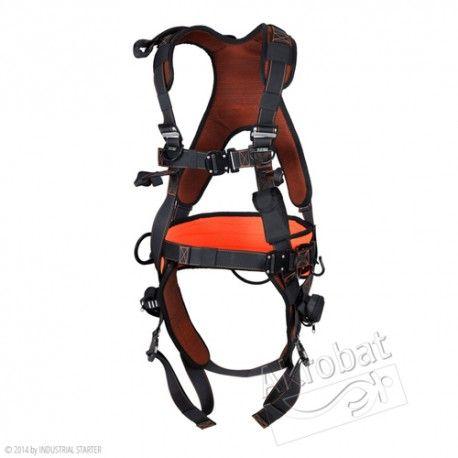 ARNES EXCLUSIVO Referencia  AK550 Marca:  Industrial Starter  EN361 - EN358 Puntos de anclaje: arnés completo con cinturón de posicionamiento, prolongador dorsal y anillas para la fijación frontal. La parte superior elástica. Hebillas de liberación rápida. Accesorios: espalda y cinturón de posicionamiento acolchado y otros (ver características arriba). Embalaje: 1 pz. (mochila incluída).