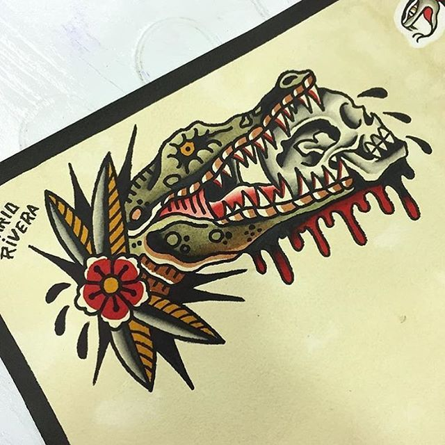 Crocodile colour traditional tattoo