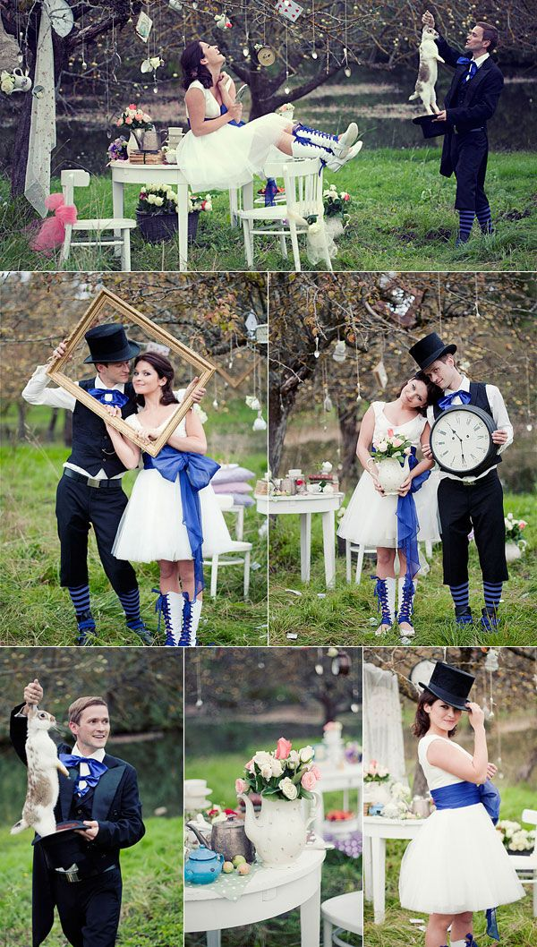 Blue and Black Alice in Wonderland Inspired Wedding  http://www.tulleandchantilly.com/blog/top-3-alice-in-wonderland-wedding-ideas/