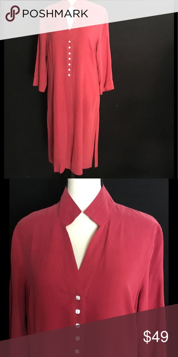 Asian Inspired Silk Duster or Tunic Asian Inspired 100% Silk Duster or Tunic. Wear Over Slacks or Leggings. Color: Cranberry. Size: M/L. Never Worn! Tops Tunics