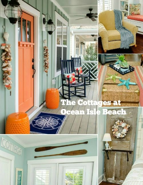 The Coastal Cottages at Ocean Isle Beach - Featured on Completely Coastal: http://www.completely-coastal.com/2016/05/the-colorful-coastal-cottages-at-ocean-isle.html Tons of colorful and creative cottage decor ideas!