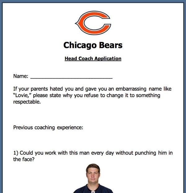 Application for the Chicago Bears Head Coaching Job