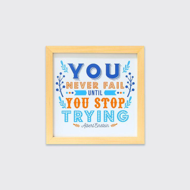 Don't Stop Trying (MAR16-02) - Jangan pernah menyerah! Asalkan kamu terus berusaha, maka kesuksesan akan ada di depan mata. Hiasan dinding ini akan tepat dipasang di ruang kerja atau ruang belajar sang buah hati.