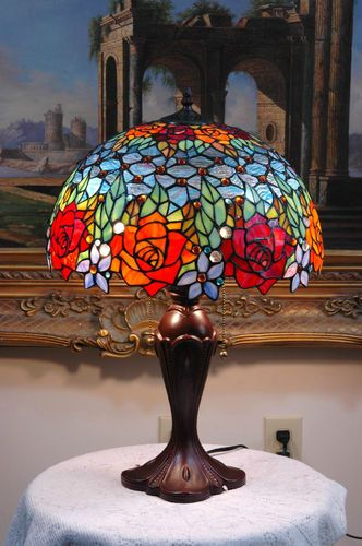 "16""W Roses Peony Tiffany Style Stained Glass Jeweled Table Desk Lamp, Zinc Base from ebay seller TMI Home and Garden"