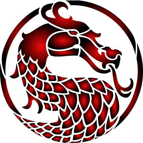"Dragon Game of Thrones Stencil - (size 6.5""w x 6.5""h) Reu..."