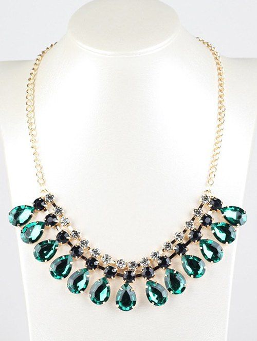 Faux Emerald Teardrop Necklace - DEEP GREEN
