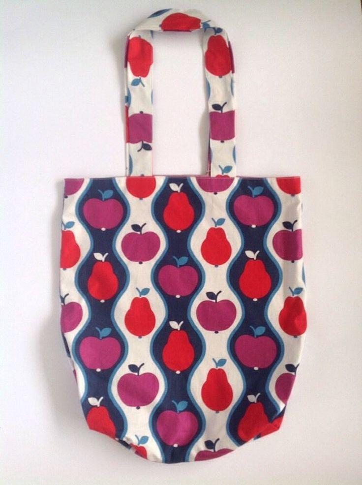 Ladies Handmade Vintage Fruit Eco Shopper tote school library or casual bag