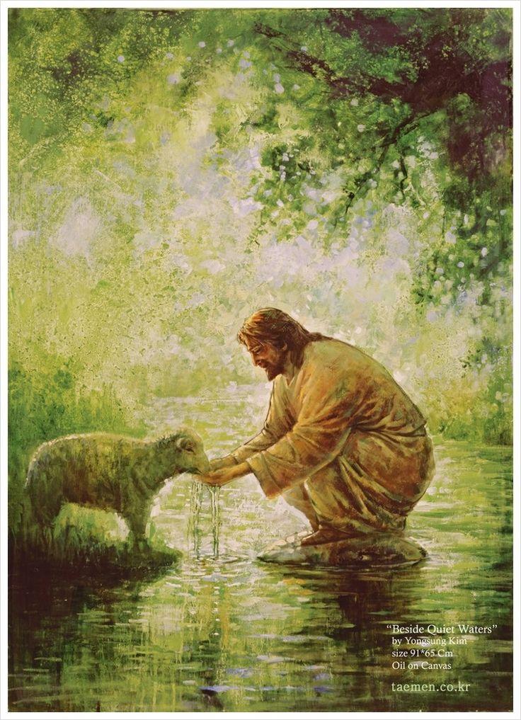 Jesus dando de beber a una oveja en plena naturaleza