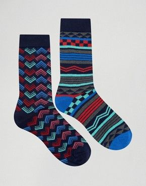 Urban Eccentric Geo Stripe Socks In 2 Pack