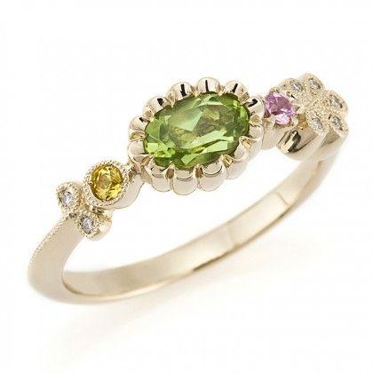 Peridot Sapphire Diamond Ring 商品画像