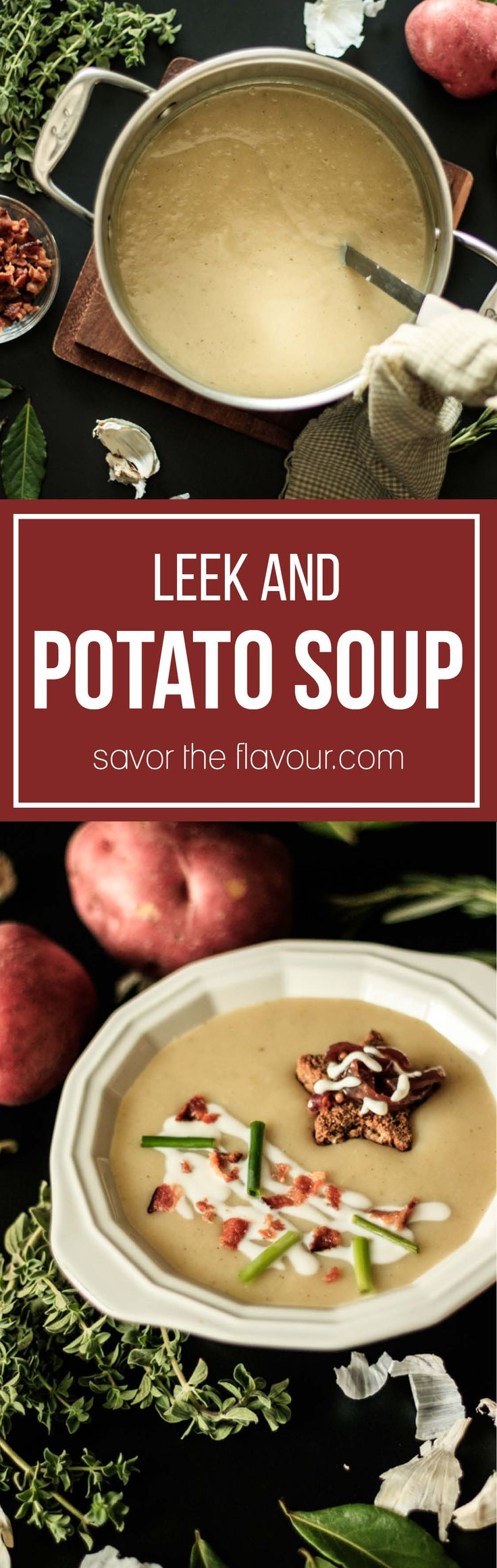 Potato leek soup is an elegant, creamy soup flavored with smoked bacon, garlic, and red potatoes.  It can be easily be dressed up with fancy garnishes like our toast stars.